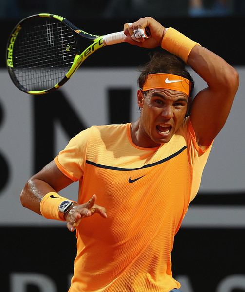 Rafael Nadal follows through on a forehand in the second round. Photo: Matthew Lewis/Getty Images