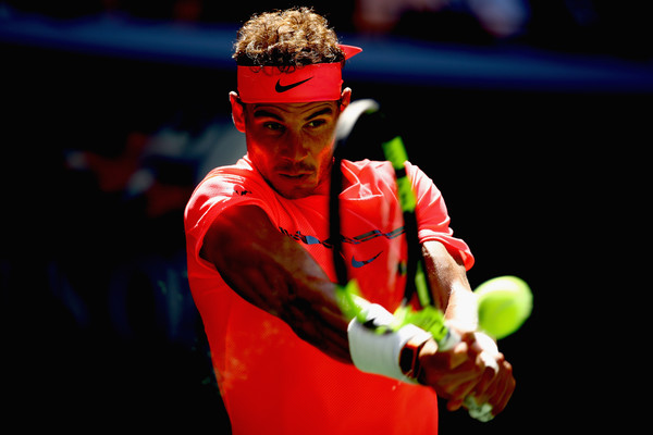Nadal crushes a backhand during his fourth-round win. Photo: Clive Brunskill/Getty Images