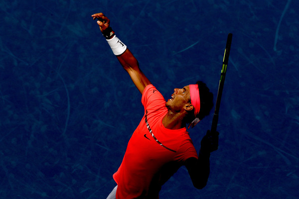 Nadal's serve, pictured, was huge in his win over Dolgopolov. Photo: Matthew Stockman/Getty Images