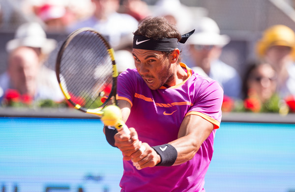 Nadal crushes a backhand during his semifinal win. Photo: Denis Doyle/Getty Images