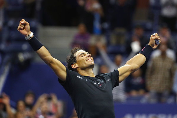 Nadal celebrates advancing to his first US Open final since 2013. Photo: Al Bello/Getty Images