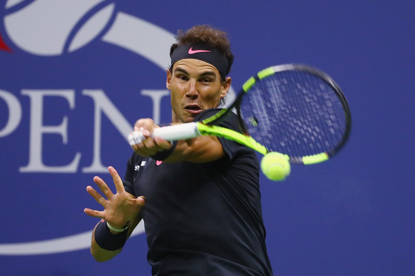 Nadal cracks a forehand on Friday night in New York. Photo: Al Bello/Getty Images