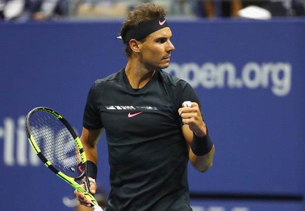 Nadal celebrates a point during his semifinal win. Photo: Al Bello/Getty Images