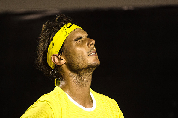 Rafael Nadal looks frustrated during his loss on Saturday. Photo: Yasuyoshi Chiba/AFP/Getty Images