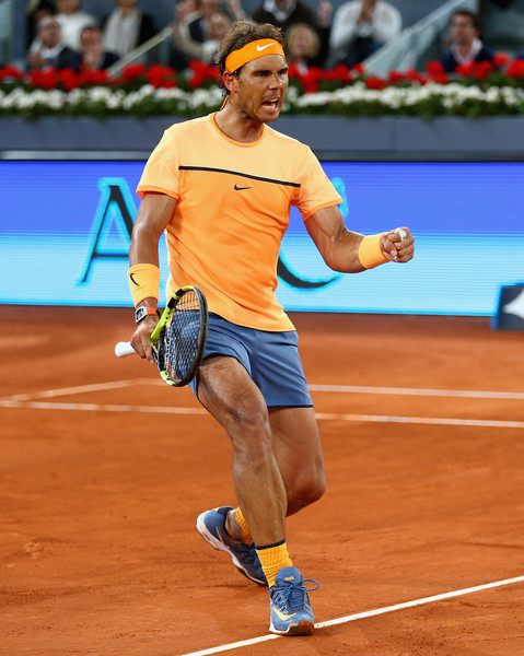 Rafael Nadal pumps his fist during his tense quarterfinal victory. Photo: Clive Brunskill/Getty Images