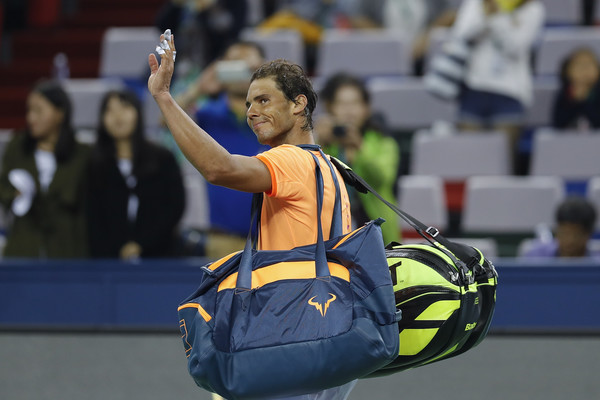 Rafael Nadal waves to the crowd in Shanghai as he leaves the court for the final time in 2016. Photo: Lintao Zhang/Getty Images