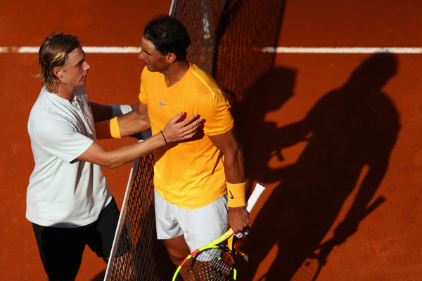 Nadal (right) and Shapovalov shake hands after their third round meeting. Photo: Dean Mouhtaropoulos/Getty Images