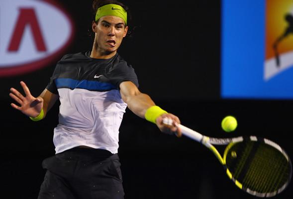 Nadal strikes a forehand back at the 2009 Australian Open. Photo: Getty Images