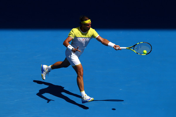 Rafael Nadal hits a forehand at the Australian Open. Photo: Ryan Pierse/Getty Images