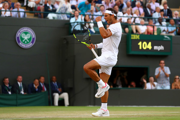 Nadal celebrates a point during his fourth round match at Wimbledon. Photo: Michael Steele/Getty Images