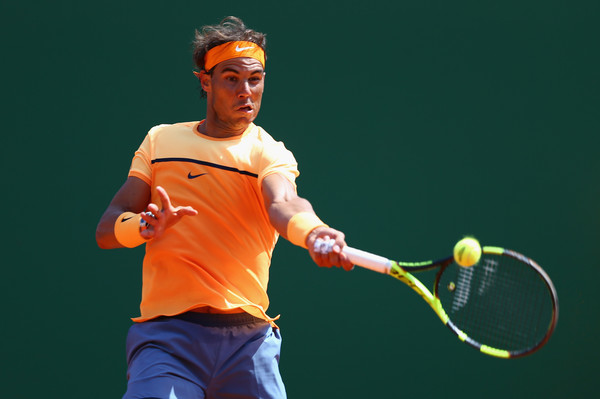 Rafael Nadal strikes a forehand during his quarterfinal win. Photo: Michael Steele/Getty Images