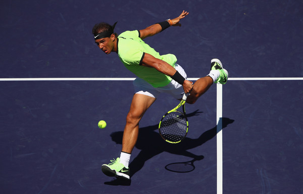 Rafael Nadal hits a backhand volley in Indian Wells. Photo: Clive Brunskill/Getty Images