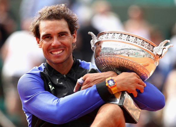 Rafael Nadal poses with his 10th French Open trophy last year. Photo: Julian Finney/Getty Images