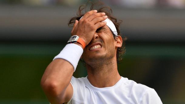 Rafael Nadal shows his frustration at Wimbledon last year. Photo: AFP