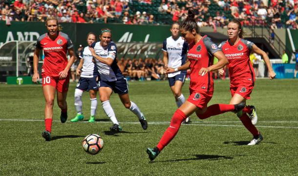 Nadia Nadim scores off a penalty kick rebound to begin the Portland scoring | Photo: Craig Mitchelldyer - Portland Thorns