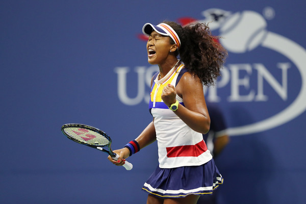 Naomi Osaka celebrates after winning a point during her first-round match against Angelique Kerber at the 2017 U.S. Open. | Photo: Elsa/Getty Images