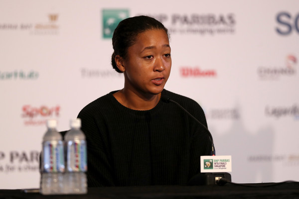 Naomi Osaka speaking to the press before the tournament | Photo: Matthew Stockman/Getty Images AsiaPac