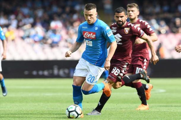 Zielinski con el Napoli. Foto: Napoli