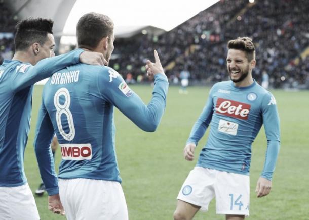 Celebración del único gol napolitano frente al Udinese | Foto: Twitter Napoli Oficial