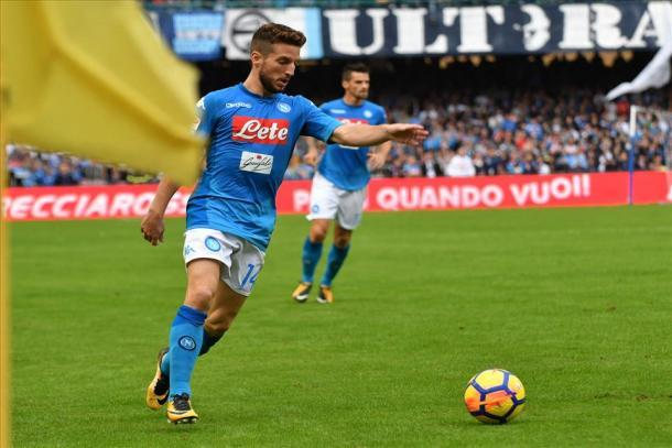 Mertens en un partido de Serie A esta campaña / Foto: Napoli
