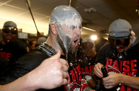 Mike Napoli celebrates after the Cleveland Indians defeated the Toronto Blue Jays three games to one | Source: Elsa - Getty Images