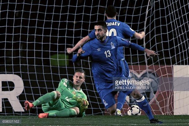Nazarov celebrando el gol que le marcó a Alemania. Foto: Getty Images