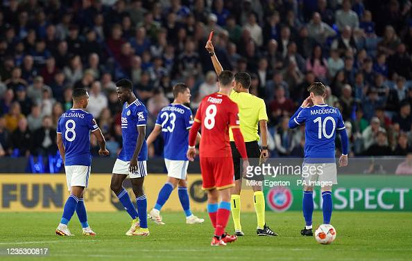 Wilfred Ndidi will be suspended for the Europa League fixture after receiving a red card against Napoli | Mike Egerton - PA Images | Getty Images
