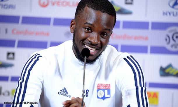 Tanguy Ndombèlé durante la rueda de prensa // Foto: OL