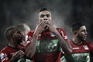 Jay-Roy celebrando uno de sus goles al Twente / Foto: nec-nijmegen.nl