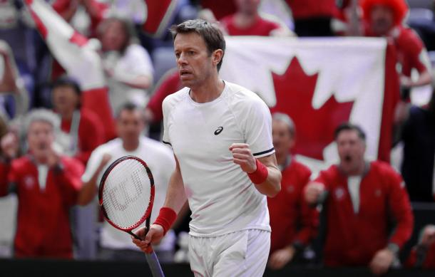 This match may have been the final Davis Cup rubber for Canadian legend Daniel Nestor. Photo: Predrag Milosavljevic/Davis Cup