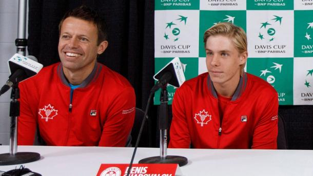 Daniel Nestor (left) has carried Canadian tennis since the early 1990s. Now it's Denis Shapovalov's (right) turn. The pair are seen here in a Davis Cup press conference. Photo: Jason Franson/Canadian Press