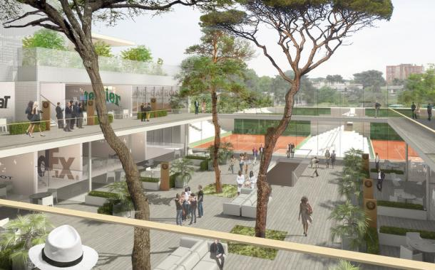 The rendering shows what the completed Village area will look like. Credit: Roland Garros/3dfabrique