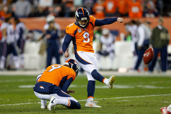 Kicker Brandon McManus #8 of the Denver Broncos kicks a first quarter field goal against the New England Patriots. |Source: Justin Edmonds/Getty Images North America|