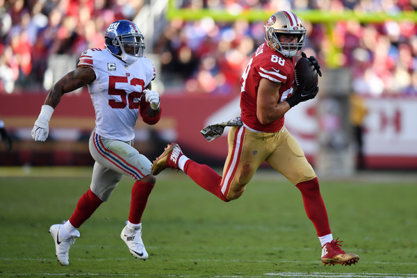 Garrett Celek #88 of the San Francisco 49ers makes a catch on way to a 47-yard touchdown against the New York Giants. |Source: Thearon W. Henderson/Getty Images North America|