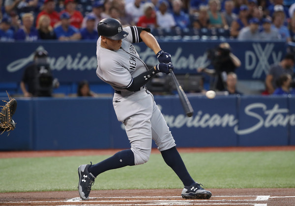 Aaron Judge scored the Yankees' lone run on Friday night with a solo shot to left in the first: his 46th of the season.   Photo: Tom Szczerbowski/Getty Images
