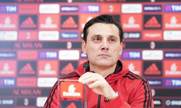 Montella en la sala de prensa. / Foto: acmilan.com