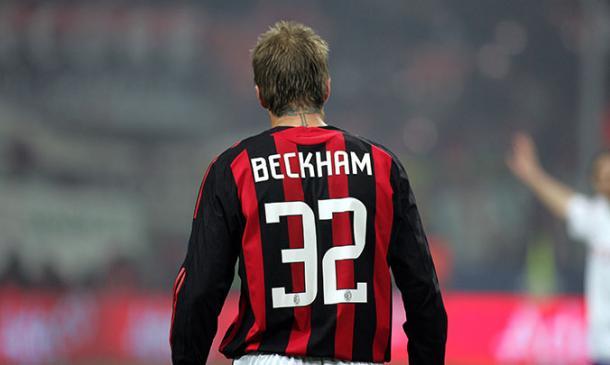 Beckham con el Milán. Fuente: AC Milan