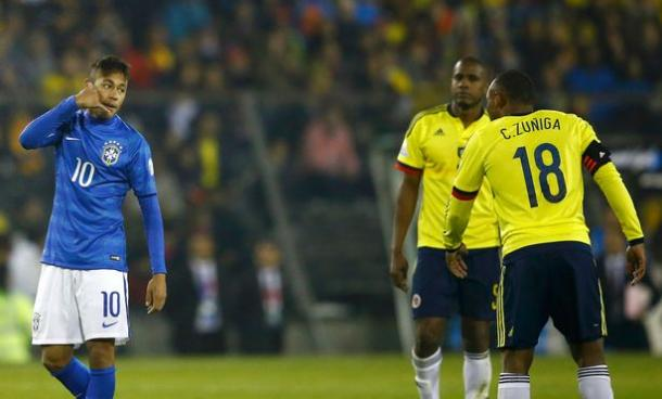 Neymar received a red card in last summer's Copa America clash with Colombia, before his side were eliminated in the Quarter-Finals. (Source: Ricardo Moraes/Reuters)