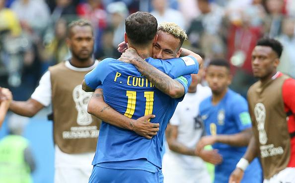 Coutinho e Neymar marcaram os gols da vitória brasileira sobre Costa Rica (Foto: Jean Catuffe/Getty Images)