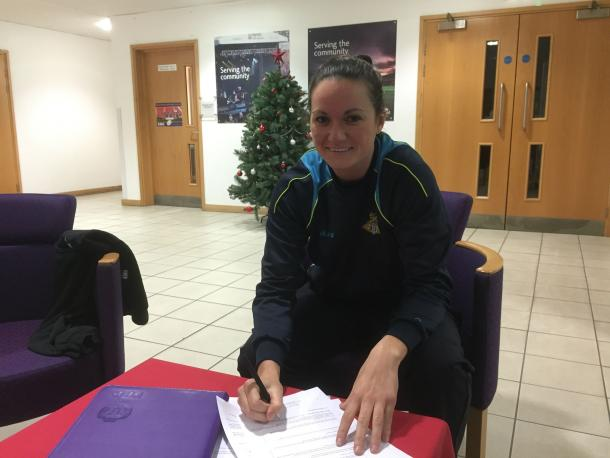 "Hobbs described herself as ""delighted"" to put pen to paper on a new deal. (Photo: Doncaster Belles)"