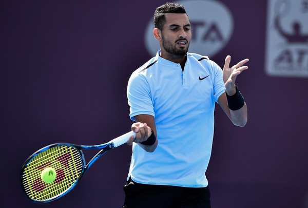 Kyrgios lines up a forehand at the 2017 China Open (Etienne Oliveau/Getty Images AsiaPac)