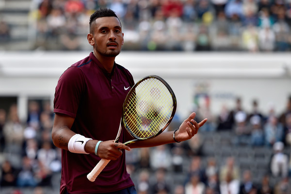 Nick Kyrgios reacts during his third round match at the 2016 Internazionali BNL d'Italia against Rafael Nadal. | Photo: Dennis Grombkowski/Getty Images Europe