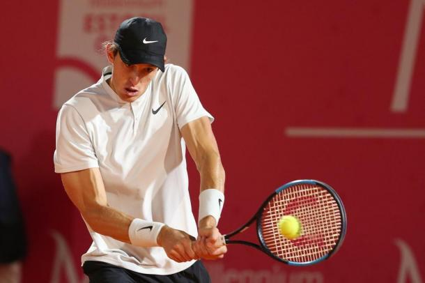 Nicolas Jarry facing Ricardo Ojeda Lara at the Millennium Estoril Open. (Photo by Millennium Estoril Open)