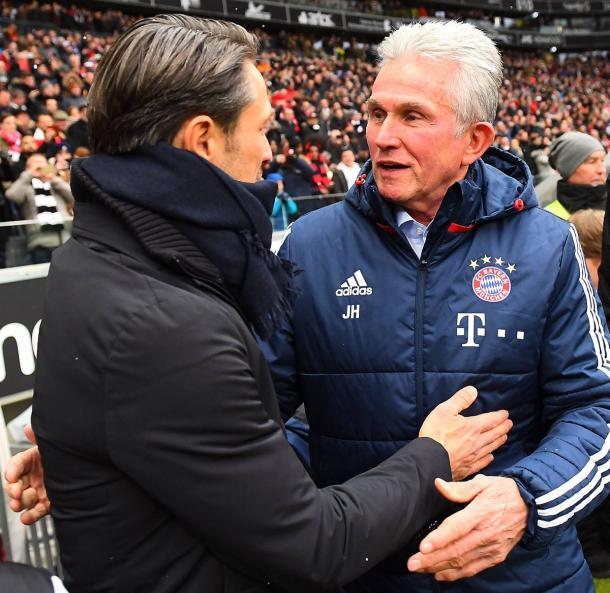 Kovac (esq.) substitui Heynckes (dir.) no comando dos bávaros (Foto: Reprodução/FC Bayern)
