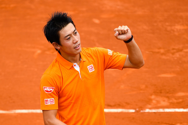 Nishikori celebrates an early-round win during his Barcelona run. Photo: David Ramos/Getty Images