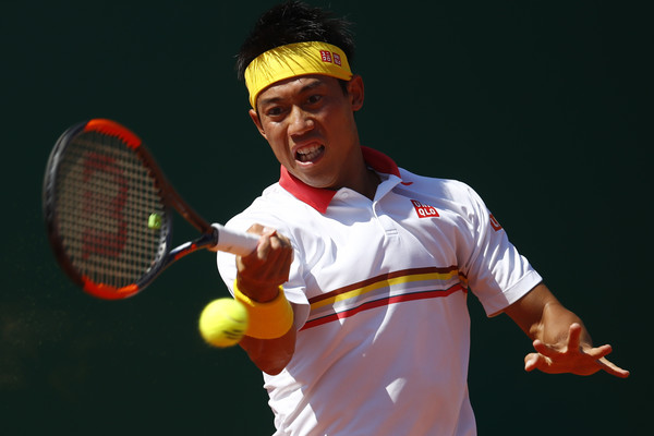 Kei Nishikori strikes a forehand during his loss in the Monte Carlo final. Photo: Julian Finney/Getty Images