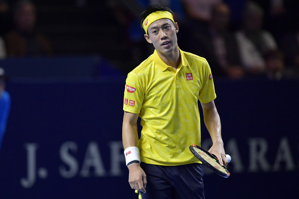 Kei Nishikori looks on in frustration during his finals loss. Photo: Harold Cunningham/Getty Images