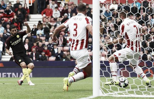 The Potters defence is carved open as Nolito scores. Photo: The Guardian.