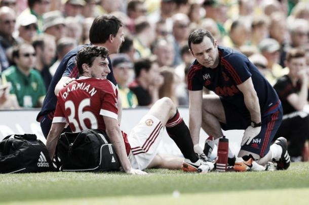 Matteo Darmian receiving treatment against Norwich last weekend (Reuters)