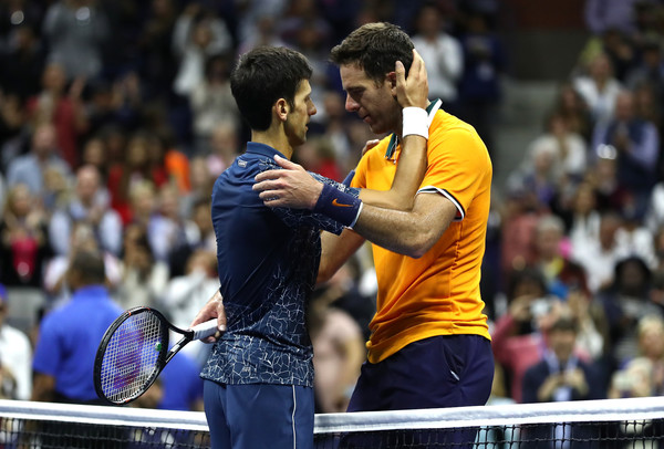 The two champions embrace after their fourth meeting at a Grand Slam event (Image source: Al Bello/Getty Images North America)